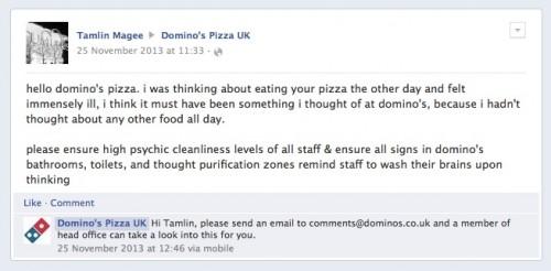 Dominos Pizza Social Customer Service Fail