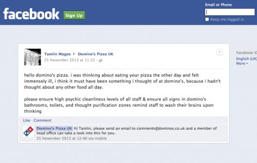 Domino's Pizza Social Customer Service Fail