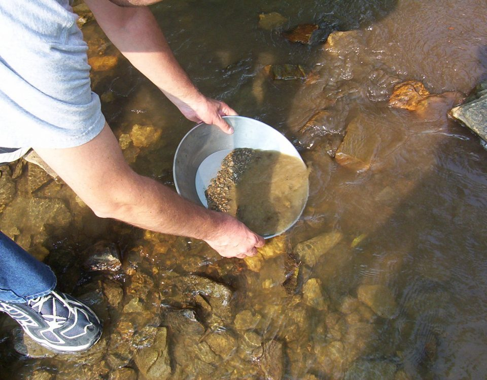 Gold panning at Bonanza Creek